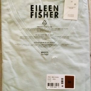 Eileen Fisher NIB Organic Cotton V-neck Tee 3X
